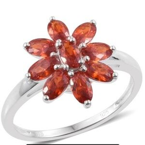 Jewelry - 💍💥🎉🍊- Orange Floral ring Sterling Silver